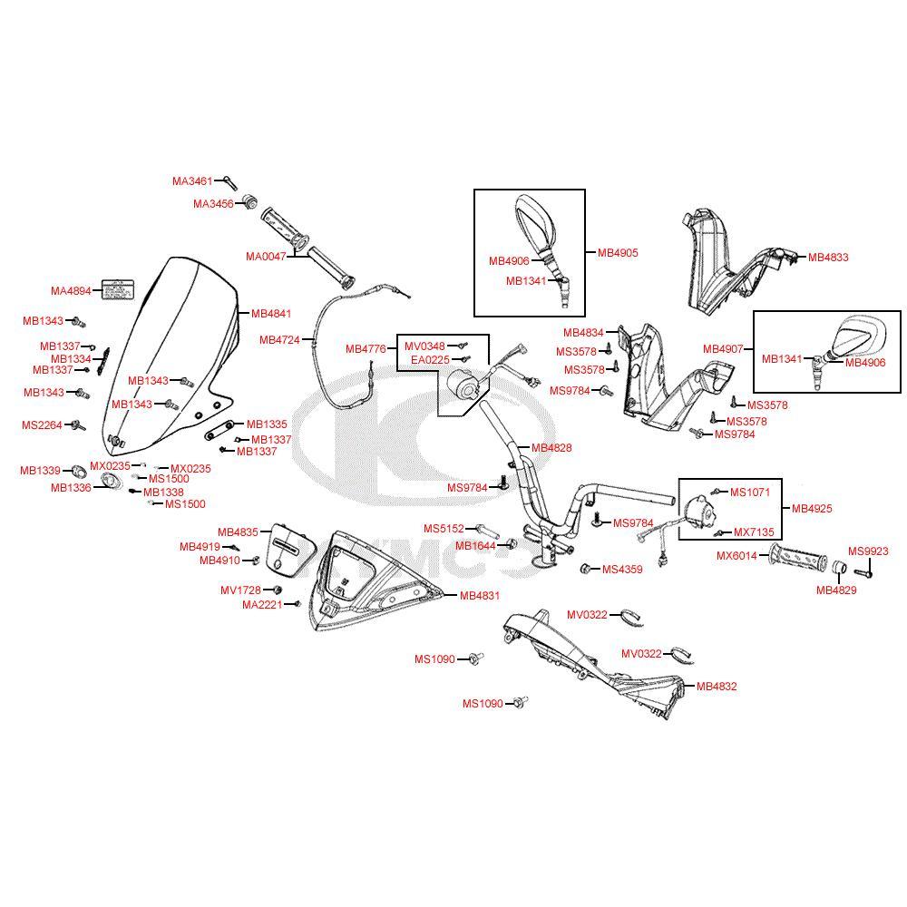F03 Řidítka, zrcátka a kapotáž řidítek - Kymco Grand Dink 125i SP25AA