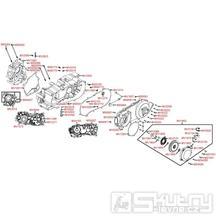 E01 Skříň klikové hřídele a kryt variátoru - Kymco MXU 250 R LG50AE/AD