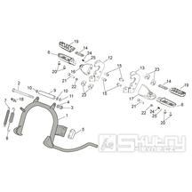 28.02 Hlavní stojan, stupačky spolujezdce - Scarabeo 100 4T E3 NET 2009 (ZD4VAC..., ZD4VAA...)