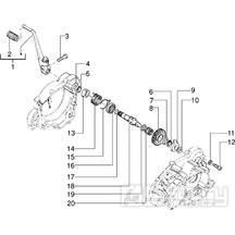 T9 Výstupní hřídel převodovky - Gilera H@K Enduro 50ccm Morini do 2005 (VTBC08000...)