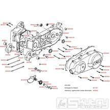 E01 Kryt variátoru / Skříň klikové hřídele - Kymco Yager/Spacer 125 [10 kola] SH25AA, Yager/Spacer 125 [12 kola] SH25BB