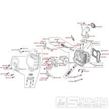 E02 Hlava válce / ventily - Kymco Super 8 50 4-Takt