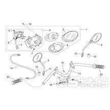 28.19 Tachometr, zrcátka, řídítka - Scarabeo 50 2T (motor Minarelli) 1998 - ZD4PF00/1/2/3, ZD4PFA/B/C/D/E