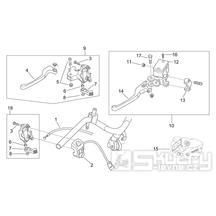 28.20 Levé brzdové páčky, přepínače - Scarabeo 50 2T (motor Minarelli) 1998 - ZD4PF00/1/2/3, ZD4PFA/B/C/D/E