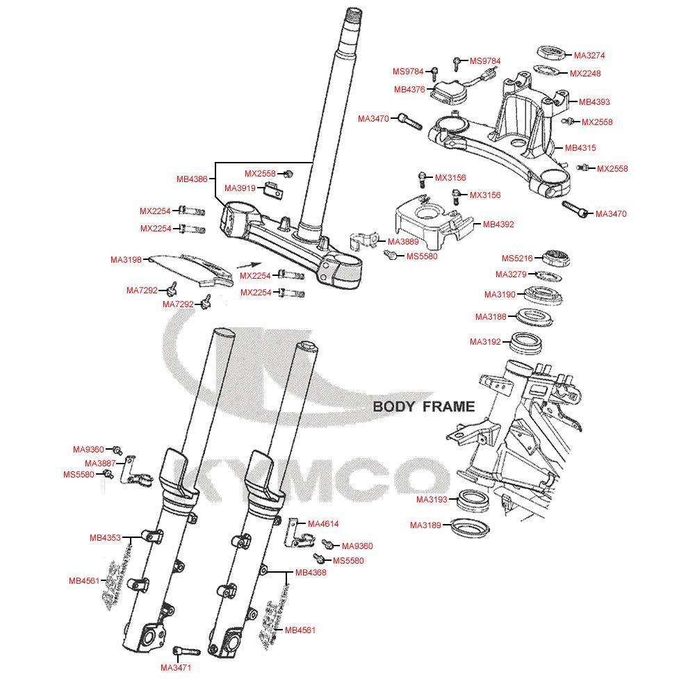 F06 Vidlice a tyč řízení - Kymco MyRoad 700i ABS SAADAB