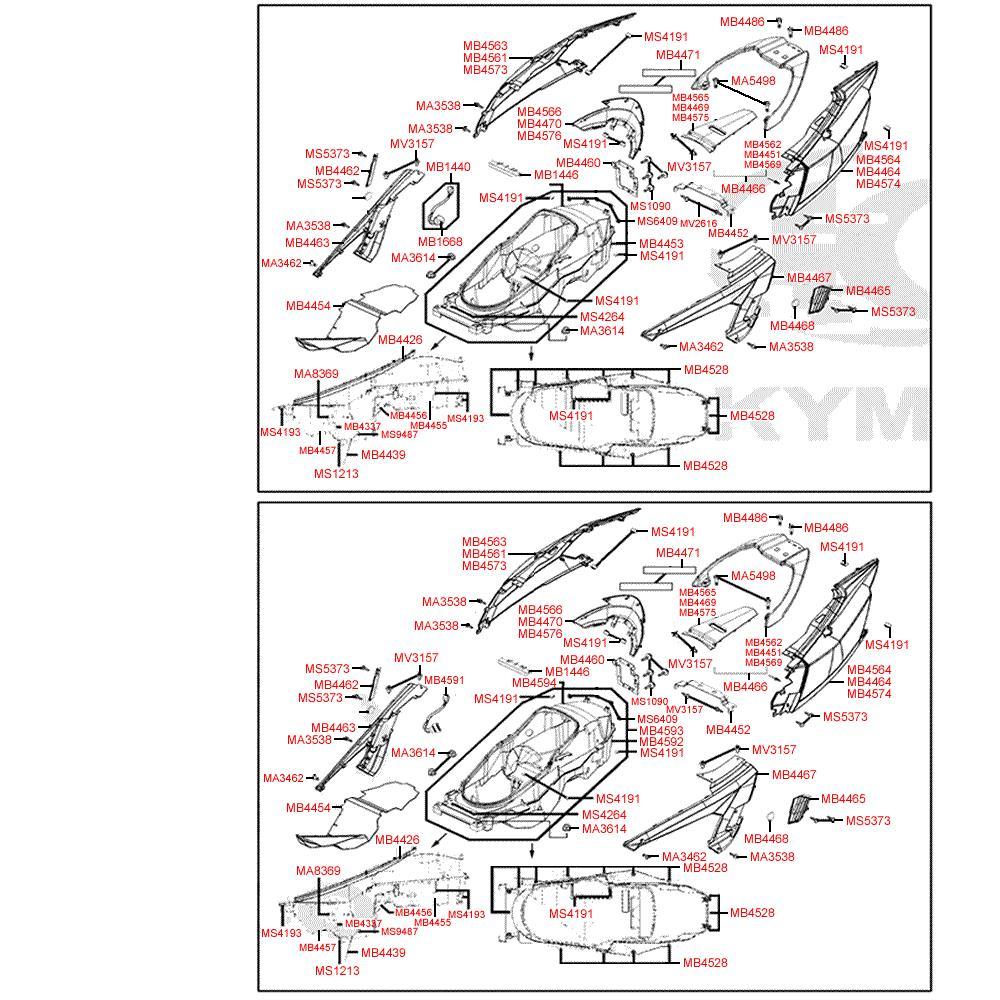 F12 Zadní kapotáž a úložný prostor pro přilbu - Kymco MyRoad 700i ABS SAADAB
