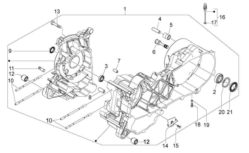 29.28 Skříň klikové hřídele - Scarabeo 50 4T 4V E2 2010-2012 (ZD4TGE00)