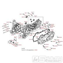 E01 Skříň klikové hřídele / kryt variátoru - Kymco Agility 50 Basic 4T KD10SH