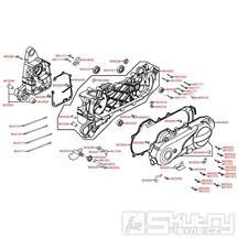 E01 skříň klikové hřídele a kryt variátoru - Kymco Yager 50 GT