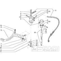 T31 Nožní brzdový pedál, hlavní brzdový válec, nádobka brzdové kapaliny - Gilera H@K Enduro 50ccm Morini do 2005 (VTBC08000...)