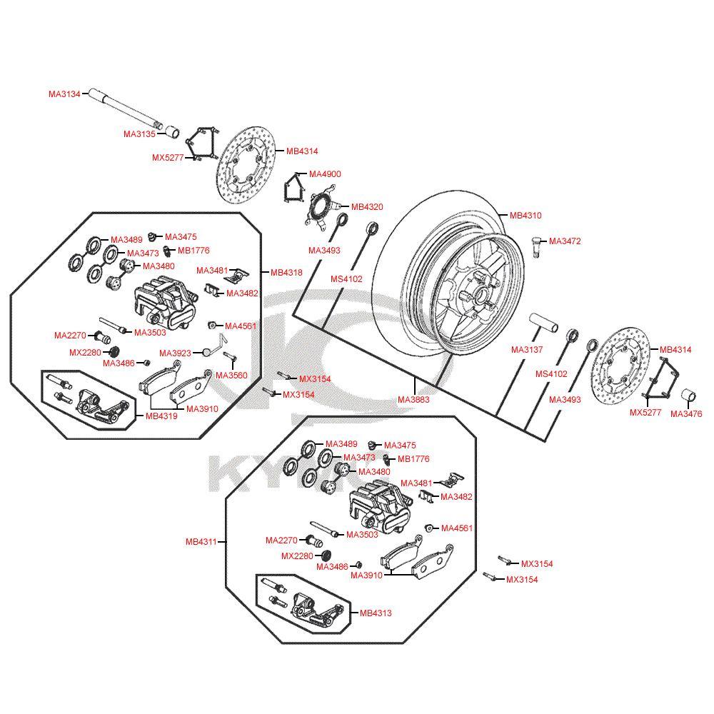 F07 Přední kolo, brzdový třmen a kotouč - Kymco MyRoad 700i ABS SAADAB