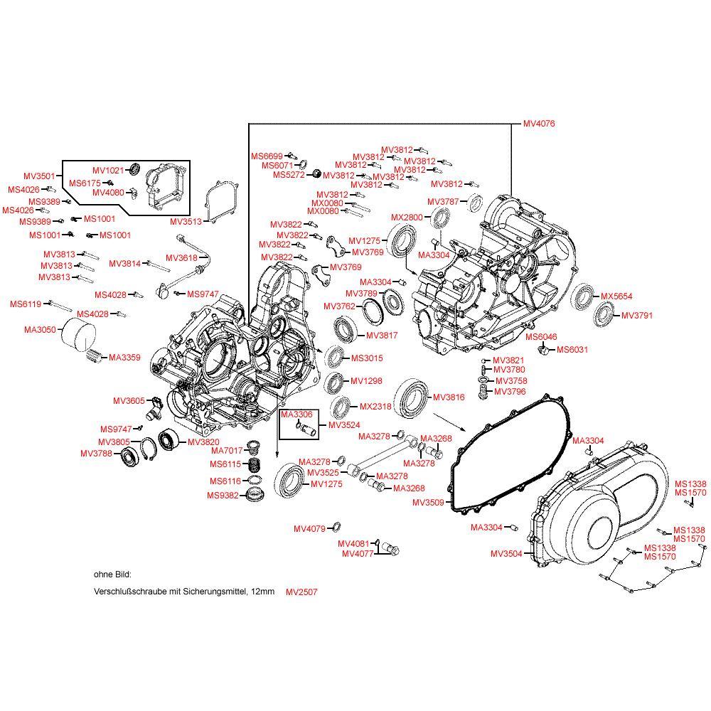 E01 Kliková skříň / Kryt variátoru - Kymco MXU 500 4WD