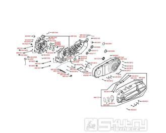 E01 Kliková skříň a kryt variátoru - Kymco Downtown 300i ABS Verze 30 SK60AF