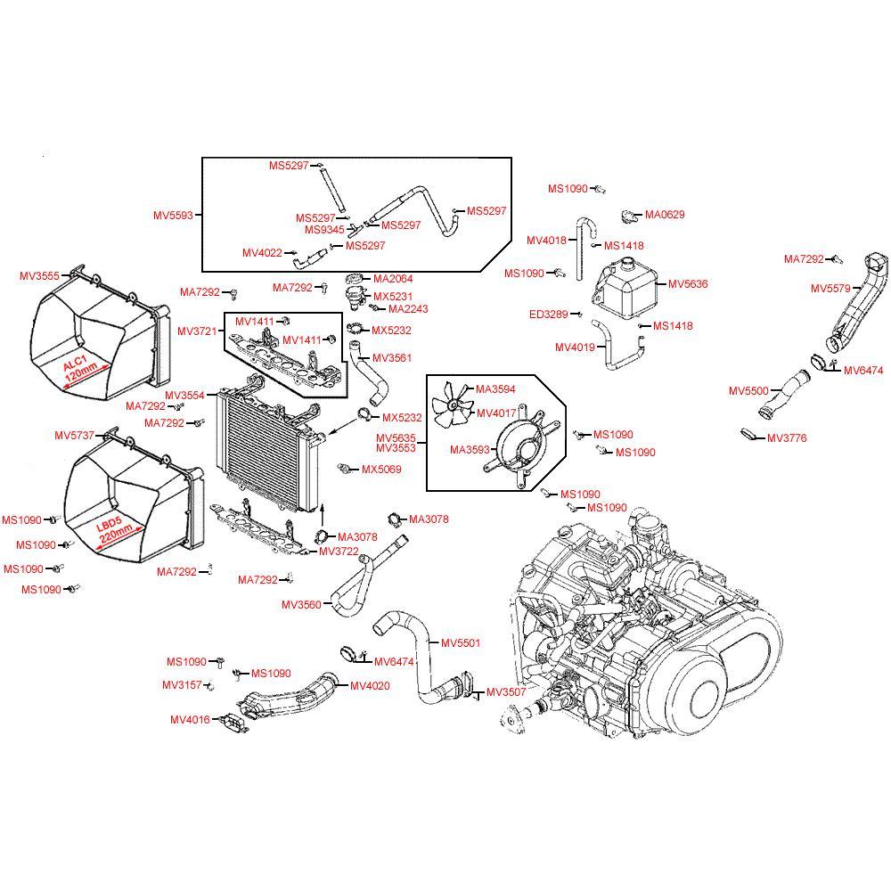 F23 Chladič a hadice chlazení - Kymco MXU 500 IRS DX LOF LAA0ED