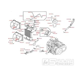 F23 Hadice chlazení a krytu variátoru - Kymco MXU 500 IRS DX LAA0DD