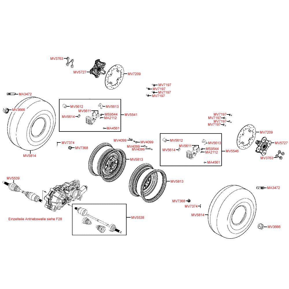 F07 Přední kolo, brzdy a poloosy - Kymco MXU 500 IRS DX LAA0DD
