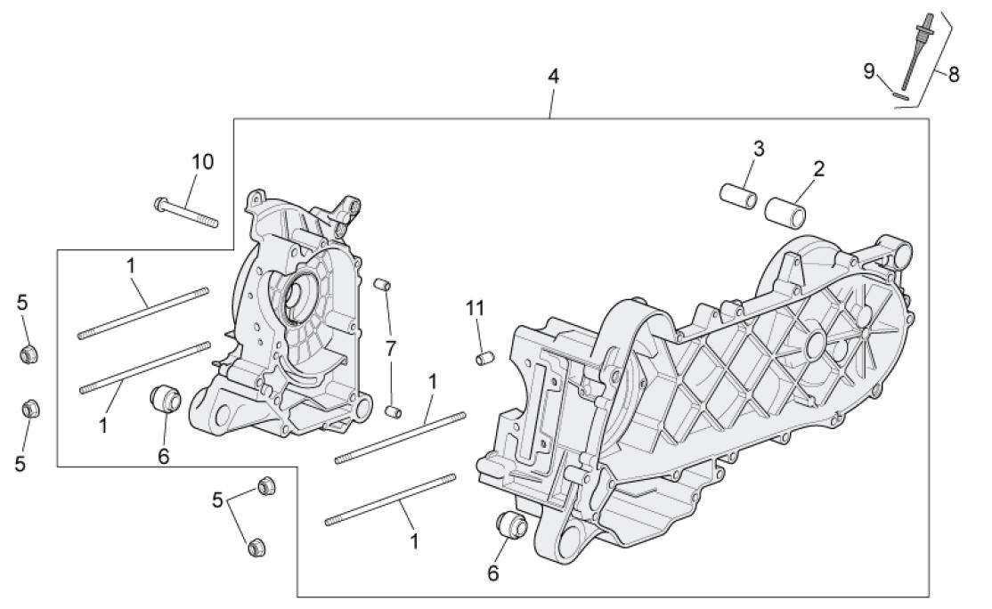 29.29 Skříň klikové hřídele - Scarabeo 100 4T E3 2010-2012 (ZD4VAA00..., ZD4VAC00...)