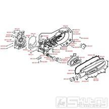 E01 Skříň klikové hřídele a kryt variátoru - Kymco People GT 125i