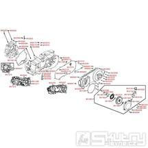 E01 Skříň klikové hřídele a kryt variátoru - Kymco MXU 300 R