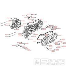E01 Kryt variátoru / Skříň klikové hřídele - Kymco Vitality 50 4T