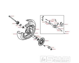 F07 Přední kolo s brzdou - Kymco Curio 50 CX50 KCP / Fever 1 50 ZX50 KCA SA10AL
