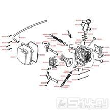 E02 Hlava válce / ventily - Kymco Filly 50 4T
