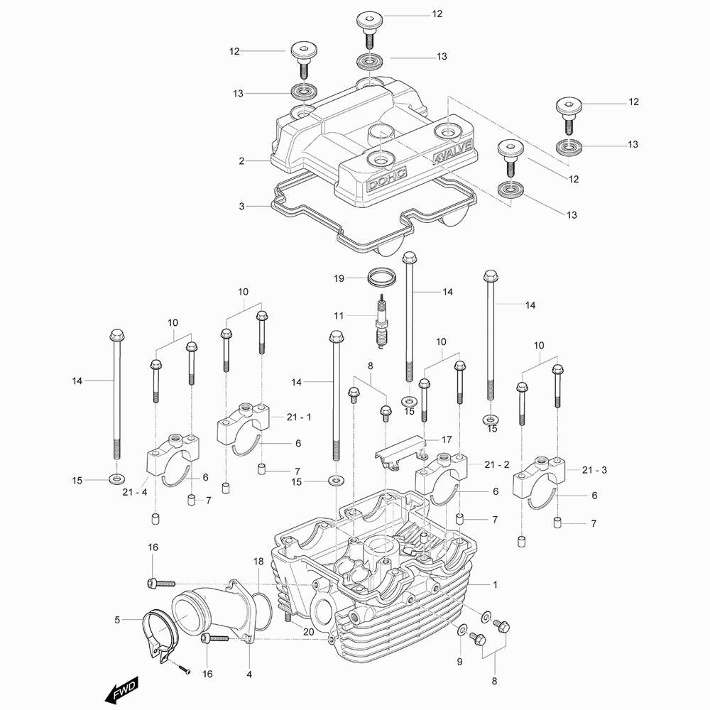 01h Hlava válce zadní - Hyosung GV 125C Aquila TTC