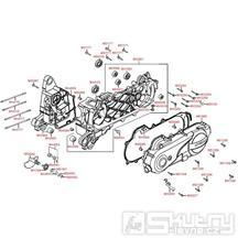 E01 Skříň klikové hřídele a kryt variátoru - Kymco Like 50 4T KG10AA