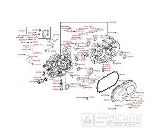 E01 Kliková skříň a kryt variátoru - Kymco MXU 500 IRS DX LOF LAA0ED