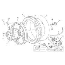 28.28 Zadní kolo, zadní kotoučová brzda - Scarabeo 50 2T (motor Minarelli) 1998 - ZD4PF00/1/2/3, ZD4PFA/B/C/D/E
