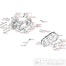 E01 Skříň klikové hřídele a kryt variátoru - Kymco Like 200i
