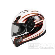 Integrální přilba Stage6 Racing, bílá/oranžová - XS