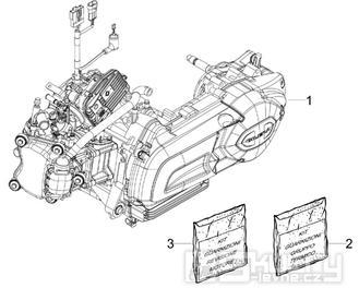 1.02 Motor, těsnění motoru - Gilera Nexus 125ie 4T LC 2009 (ZAPM35700)