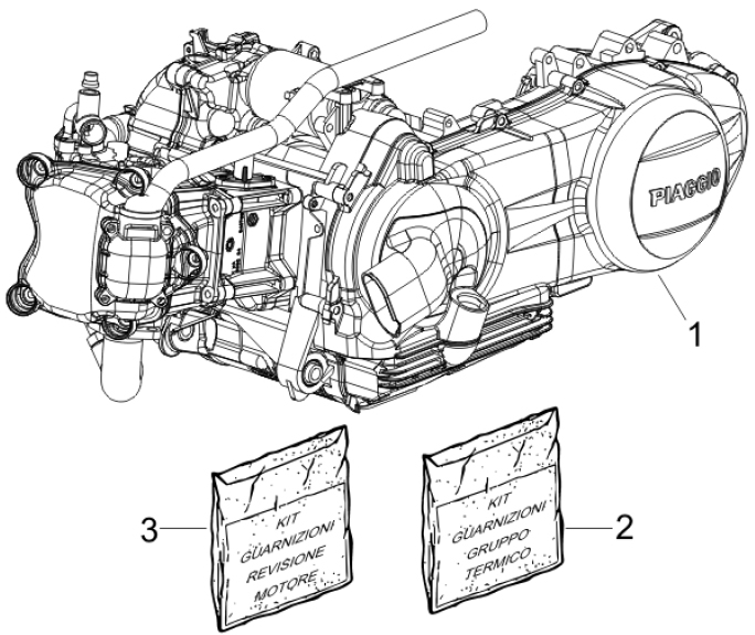 1.02 Motor, těsnění motoru - Gilera Nexus 300ie 4T LC 2008 (ZAPM35600)