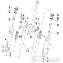 4.03 Přední kyvná vidlice (Kayaba) - Gilera Runner 125 VX 4T 2006-2007 UK (ZAPM46300)