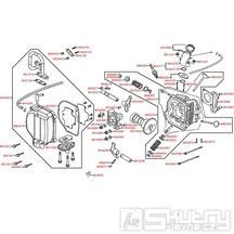 E02 Hlava válce / ventilový rozvod - Kymco Agility 50 One 4T / MMC 4T
