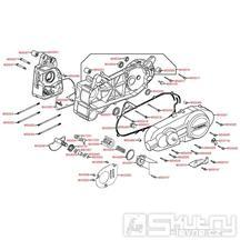 E01 Kryt variátoru / Skříň klikové hřídele - Kymco Yager GT125 E3 [SH25EA]
