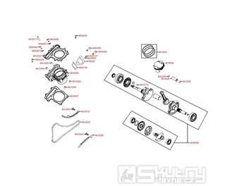 E03 Válec a kliková hřídel - Kymco MXU 500 IRS DX LAA0DD