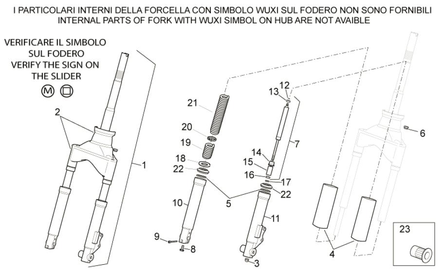 28.03 Přední vidlice - Scarabeo 100 4T E2 2001-2005 (ZD4SA..., ZD4VA0...)