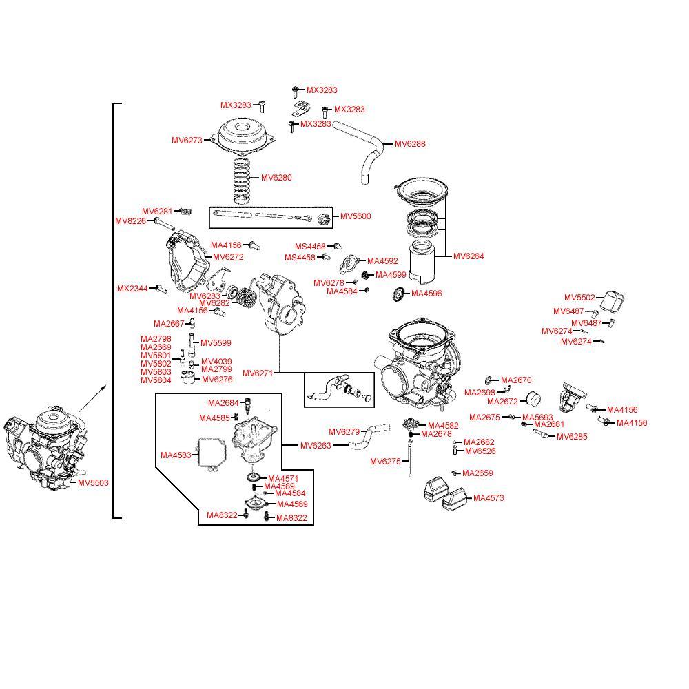 E09 Karburátor - Kymco MXU 500 IRS DX LAA0DD