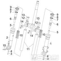 """4.03 Přední kyvná vidlice (Kayaba) - Gilera Runner 125 """"SC"""" VX 4T 2006 UK (ZAPM46300)"""