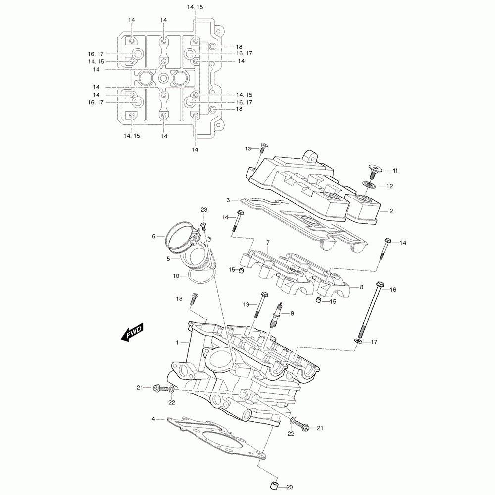 01h Hlava válce zadní - Hyosung GT 650 S & R