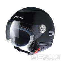 Motocyklová JET přilba SCARABEO, černo/stříbrná - velikost L