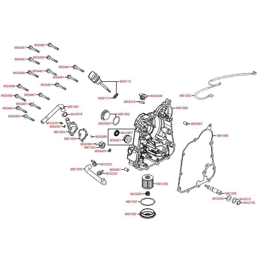 Pravý kryt motoru a vodní čerpadlo - Kymco Downtown 300i ABS Verze 30 SK60AF