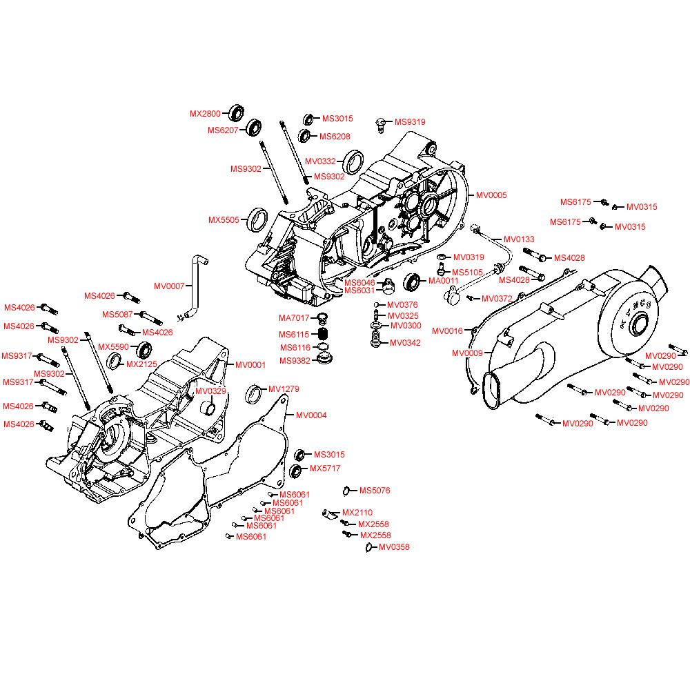 E01 Kliková skříň / Kryt variátoru - Kymco MXer 150