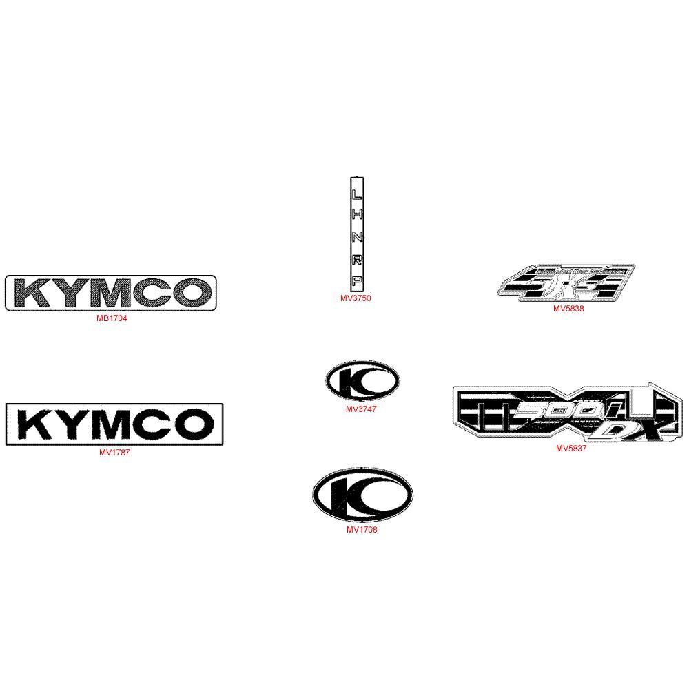 F26 Samolepky, znaky a opravné tužky laku - Kymco MXU 500 IRS DX LOF LAA0ED