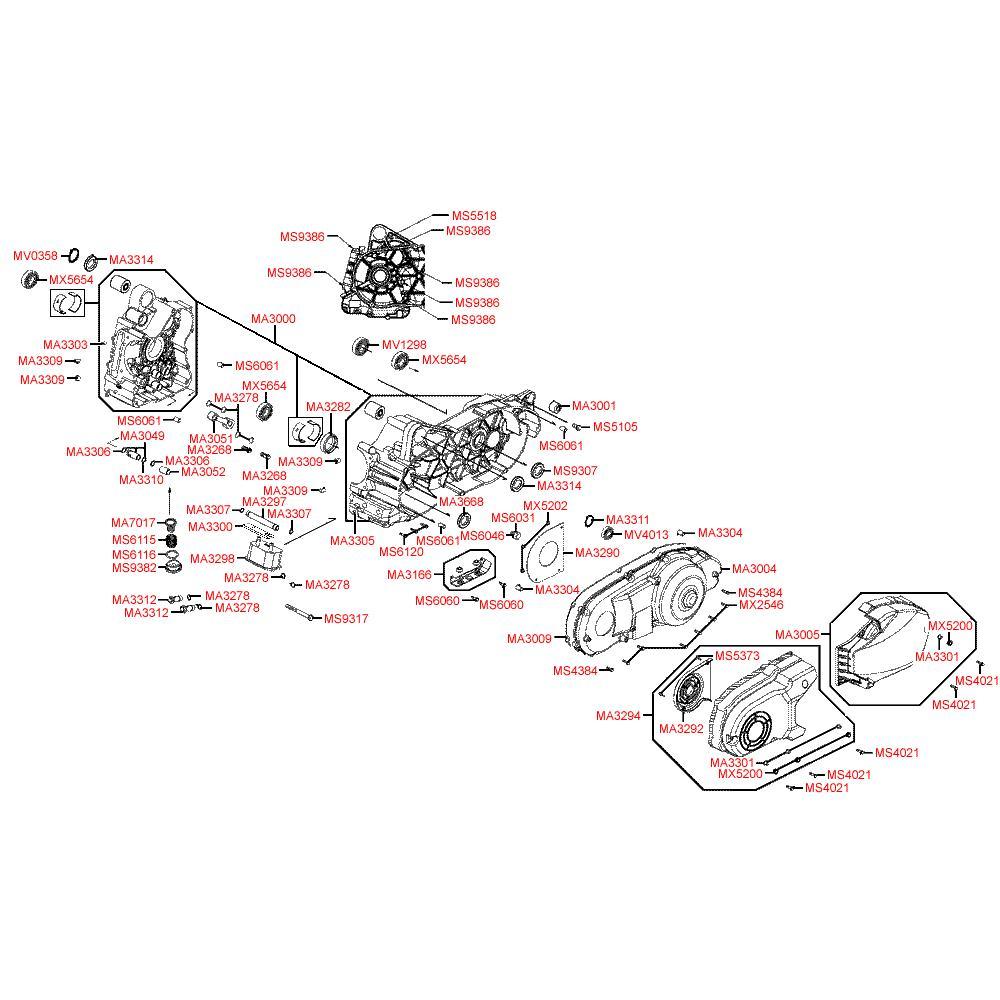 E01 Kliková skříň / Kryt variátoru - Kymco Xciting 500