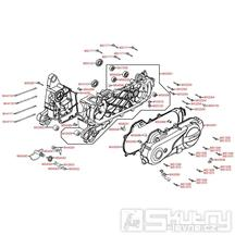 E01 Kliková skříň kompletní / kryt variátoru - Kymco Agility 50 One 4T / Agility 50 MMC 4T