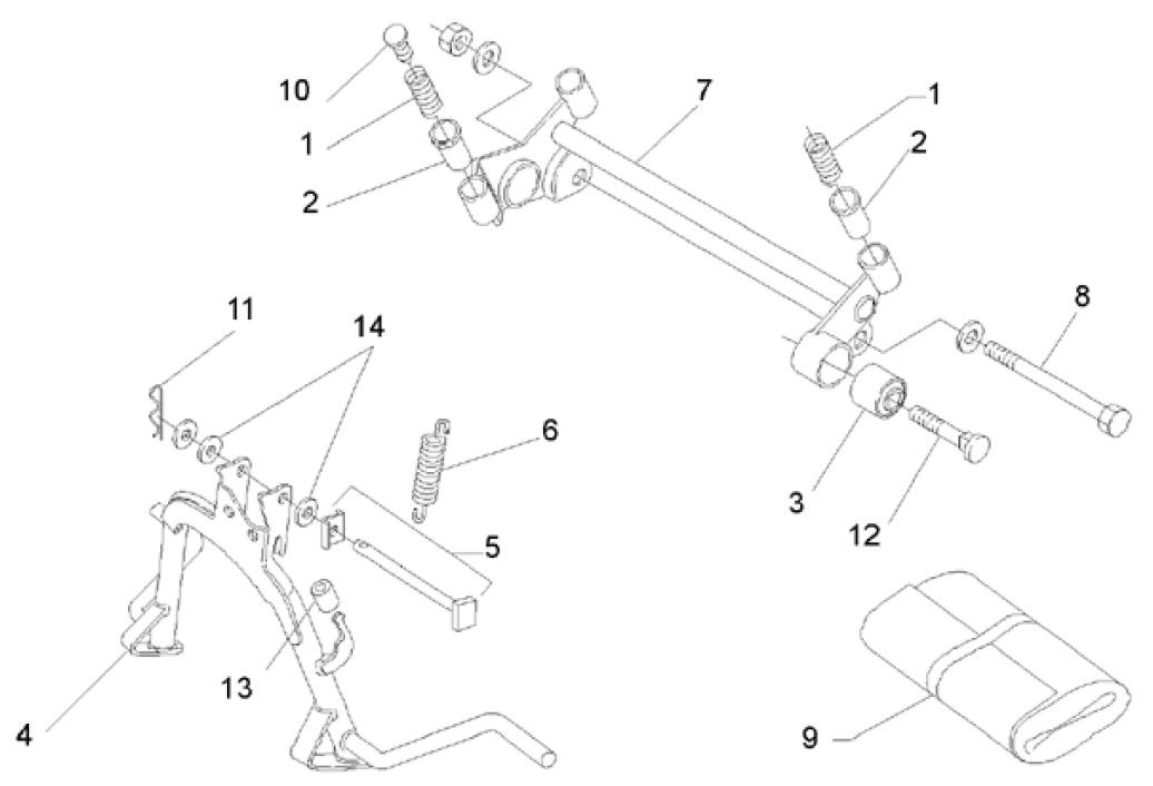 28.02 Hlavní stojan, stupačky spolujezdce - Scarabeo 50 2T (motor Minarelli) 1993-1997 - 072, 081, 081P1, 092, 094