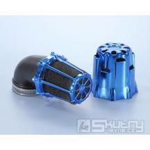 Modře chromovaný vzduchový filtr Polini (malý) - 90°, Ø 37 mm